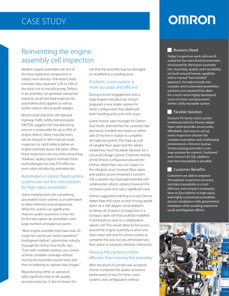 Omron | Reinventing the engine assembly cell inspection