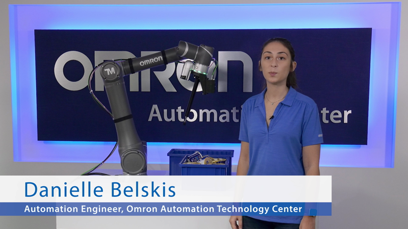 The Omron TM collaborative robot, when equipped with the new 3D vision camera, is able to pick up known objects with random overlapping positions out of a bin. Traditionally, this was difficult to automate due to varying weights, shapes and orientations of objects that require 3D location and different forces during picking. The 3D camera locates objects and sends their coordinates to the robot, while the software makes the advanced calculations required for optimized trajectory and force to pick up objects. The LD mobile robot then transports the sorted goods.
