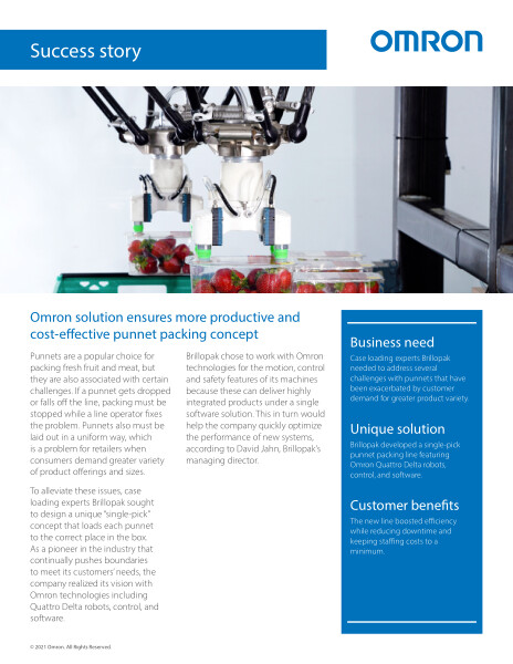 Brillopak developed a single-pick punnet packing line featuring Omron Quattro Delta robots, control and software.