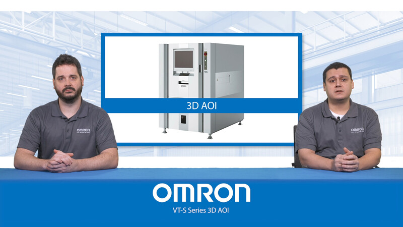 Brad Ward, automated inspection segment manager, and Karl Long, application specialist in AOI technology, discuss Omron's VTS 3D AOI before showing an AOI in action at a customer facility.