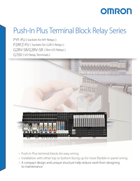 Push-In Plus terminal blocks for easy wiring with a compact design and unique structure help reduce work from designing to maintenance.,