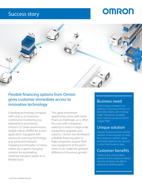Omron's flexible financing options provide immediate access to innovative technology.