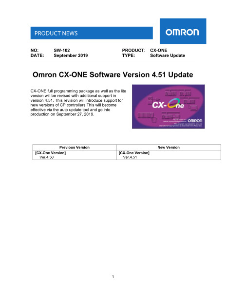 Omron CX-ONE Software Version 4.51 Update