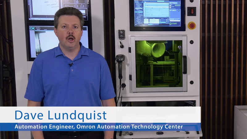 See how easy machine tending can be in industrial automation. In this demo, the Omron TM collaborative robot uses its integrated vision to determine a pallet location and the relative positions of parts on the pallet. The TM then delivers parts to a laser marker, where it is accurately marked with a different code/image on each part, showcasing its applicability for mass customization. Once the parts are marked, the TM retrieves the parts from the laser marker and hands them to the operator. Integrated vision handles shape analysis, barcode reading, optical character recognition (OCR) and color classification. Built-in safety area scanners allow for full collaboration.