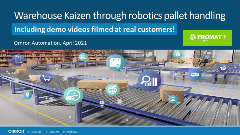 Processing unconveyable objects and planning a flexible floorplan have been two primary challenges for warehouse managers. Omron offers a wide range of autonomous mobile robots that can help handle different tasks needed for pallet handling.    With integrated safety, effective fleet optimization, and a best-in-class navigation system, Omron's newly released HD-1500 mobile robot helps shuttle large and heavy objects through warehouses in a safe and cost-effective manner. In conjunction with Omron's collaborative palletizing and depalletizing solution, warehouse managers can design best of class storage and product routes according to the needs in real-time.