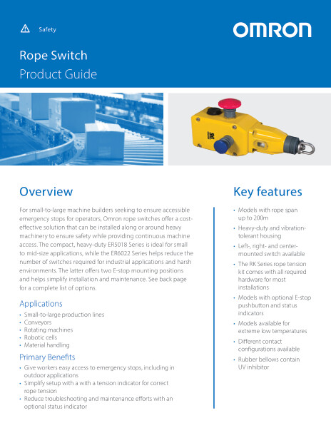 Omron rope switches offer a cost-effective solution that can be installed along or around heavy machinery to ensure safety while providing continuous machine access