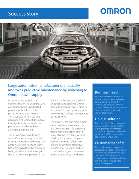 Large automotive manufacturer dramatically improves predictive maintenance by switching to Omron power supply.