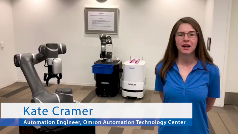 Watch this demo for another take on machine tending. The mobile manipulator from Omron pairs the TM collaborative robot with the LD series of mobile robots, allowing for pick-and-place with mobility to anywhere in your plant. Move material from station to station or pick parts from shelves and deliver them to key operating areas.