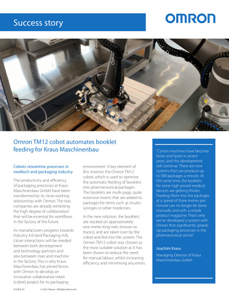 Cobots streamline processes in medtech and packaging industry.