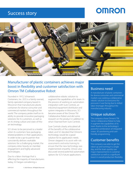 Supplier of plastic containers achieves major boost in flexibility and customer satisfaction with Omron TM Collaborative Robot