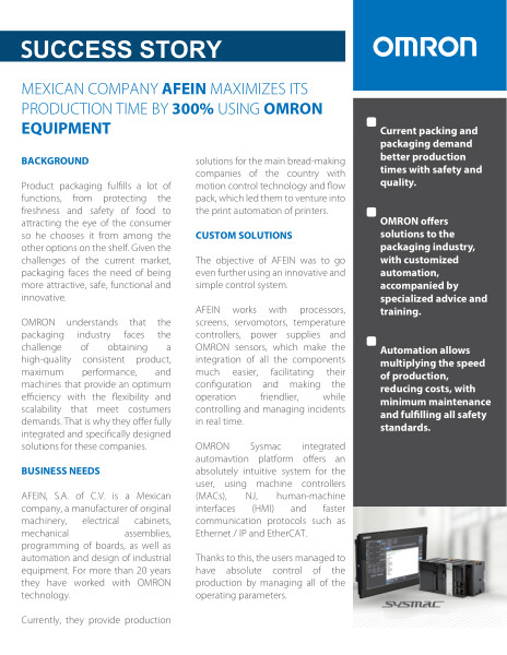 Omron | Mexican company AFEIN maximizes its production time by 300