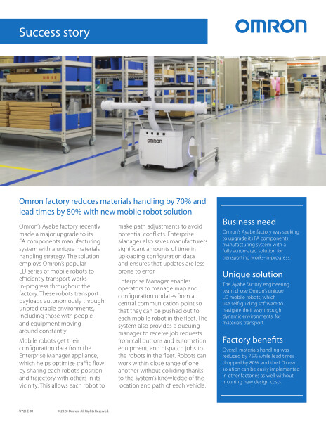 Omron factory reduces materials handling by 70% and lead times by 80% with new mobile robot solution.
