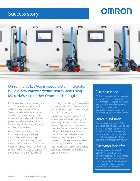 Omron helps Las Vegas-based system integrator build a new barcode verification system using MicroHAWK and other Omron technologies