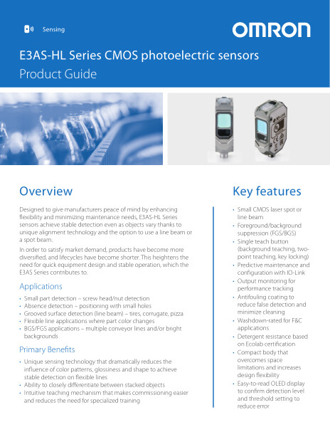 E3AS-HL Series CMOS photoelectric sensors
