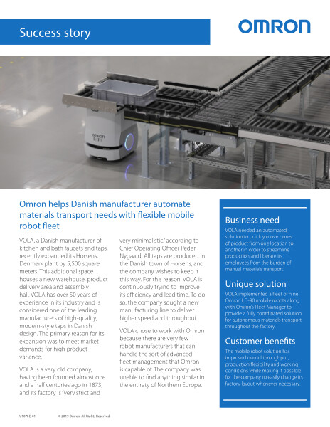 Omron helps Danish manufacturer automate materials transport needs with flexible mobile robot fleet.